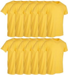 12 Units of Mens Yellow Cotton Crew Neck T Shirt Size Large - Mens T-Shirts