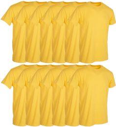 12 Units of Mens Yellow Cotton Crew Neck T Shirt Size 2X Large - Mens T-Shirts