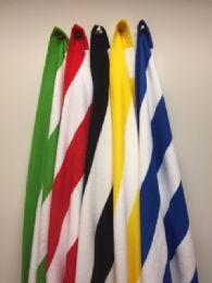 12 Units of Microfiber Cabana Stripe Beach Towel Size 30x60 In Black And White - Beach Towels