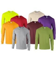 72 Units of MILL GRADED GILDAN IRREGULAR ADULTS LONG SLEEVE T-SHIRTS ASSORTED COLORS SIZE M - Mens T-Shirts