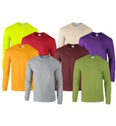 72 Units of Mill Graded Gildan Irregular Adults Long Sleeve T-Shirts Assorted Colors Size L - Mens T-Shirts