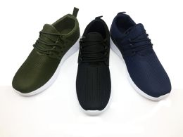 12 Units of MODERN MENS BREATHABLE SNEAKERS WITH LACES IN BLACK - Men's Sneakers