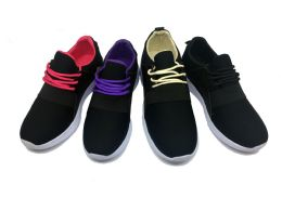12 Units of Modern Two Tone Women's Sneakers In Black And Purple - Women's Sneakers