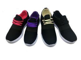 12 Units of MODERN TWO TONE WOMEN'S SNEAKERS IN BLACK AND FUSCHIA - Women's Sneakers