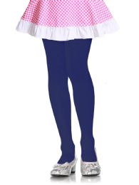 72 Units of Mopas Girls Plain Tights In Navy Size Large - Girls Socks & Tights