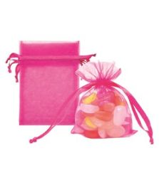 144 Units of Organza Pouches Hot Pink - Party Favors
