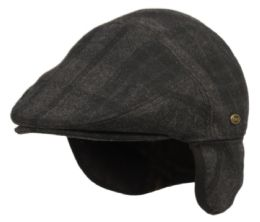 12 Units of Plaid Wool Ivy Cap With Fleece Earflap And Lining In Green - Fedoras, Driver Caps & Visor