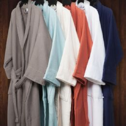 2 Units of Premium Long Staple Cotton Unisex Waffle Weave Bath Robe In Navy - Bath Robes