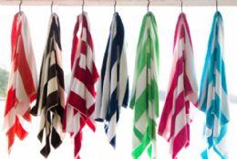 8 Units of Rugby Striped Beach Towels 35 x 60 Fuschia - Beach Towels