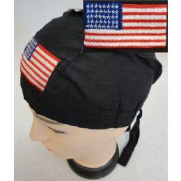 72 Units of Skull Caps Motorcycle Hats American Flag Embroidery - Bandanas