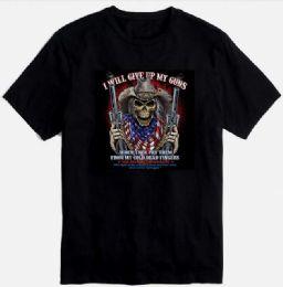 12 Units of Skull Print T Shirt Black Color Plus Size - Mens T-Shirts