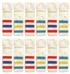 48 Units of Yacht & Smith Men's King Size Extra Long White Tube Socks With Stripes - Size 13-16 - Big And Tall Mens Tube Socks