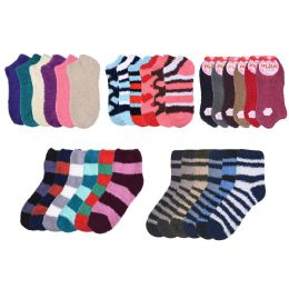 72 Units of Socks Women's Warm Fuzzy Slipper Soft Plush Cozy Casual - Women's Socks for Homeless and Charity