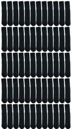 48 Units of Yacht & Smith Kids Black Solid Tube Socks Size 4-6 - Boys Crew Sock