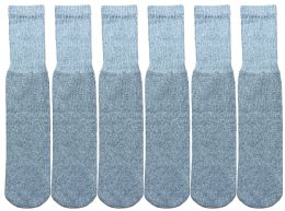 6 Units of Yacht & Smith Kids Solid Tube Socks Size 6-8 Gray - Boys Crew Sock