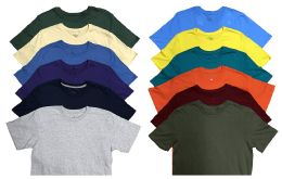 12 Units of Mens Cotton Crew Neck Short Sleeve T-Shirts Mix Colors, Large - Mens T-Shirts