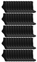 72 Units of Yacht & Smith Kids Value Pack of Cotton Ankle Socks Size 2-4 Black - Boys Ankle Sock
