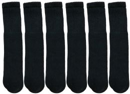 12 Units of Yacht & Smith Women's Cotton Tube Socks, Referee Style, Size 9-11 Solid Black 22inch - Women's Tube Sock