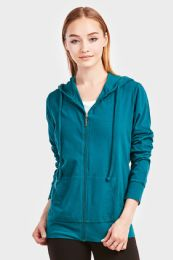 12 Units of SOFRA LADIES THIN ZIP UP HOODIE JACKET COLOR PEACOCK IN SIZE LARGE - Womens Sweaters & Cardigan