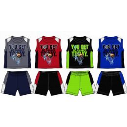 48 Units of Spring Boys Close Mesh Short Sets Newborn Infant - Newborn Boys Apparel