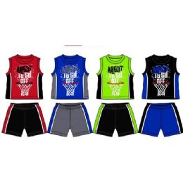 48 Units of Spring Boys Jersey Top With Close Mesh Short Sets Size Toddler - Toddler Boys Sets