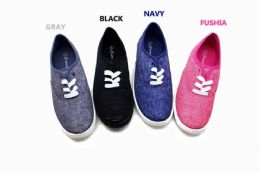 18 Units of Street Style Women Canvas Sneaker Shoes With Laces In Fuschia - Women's Sneakers