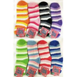 36 Units of Striped Lady Fuzzy Socks Assorted - Womens Fuzzy Socks