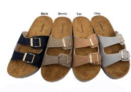 12 Units of Suede Birkenstock Style Slider In Tan - Women's Sandals