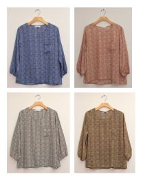 24 Units of Plus Three Quarter Sleeve Button Back Blouse Assorted - Womens Sweaters & Cardigan