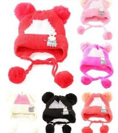 48 Units of Toddler Girls Boys Winter Hat Warm Knit Beanie With Ear Flaps And Pom Pom - Winter Beanie Hats