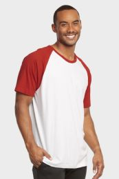 30 Units of TOP PRO MENS SHORT SLEEVE BASEBALL TEE IN RED AND WHITE SIZE MEDIUM - Mens T-Shirts