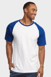 30 Units of TOP PRO MENS SHORT SLEEVE BASEBALL TEE IN ROYAL BLUE AND WHITE SIZE LARGE - Mens T-Shirts