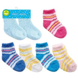 144 Units of Two Pack Baby Fuzzy Socks - Baby Accessories