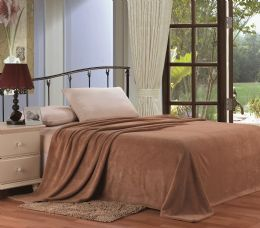 12 Units of Ultra Plush Solid Mocha Color Queen Size Blanket - Fleece & Sherpa Blankets