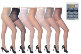 108 Units of Ultra Sheer Pantyhose In Assorted Colors - Womens Thigh High Stocking