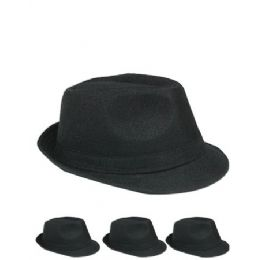 72 Units of Unisex Fedora Hat In Solid Black - Fedoras, Driver Caps & Visor
