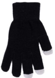144 Units of Unisex Touch Screen Glove, Solid Black - Conductive Texting Gloves