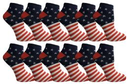48 Units of Yacht & Smith USA Printed Ankle Socks Size 9-11 - Womens Ankle Sock