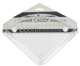 24 Units of Home Basics Corner Caddy with Suction Cups, Clear - Shower Accessories