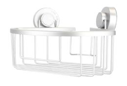 12 Units of Home Basics Aluminum Corner Bath Caddy with Power Grip Suction Cups, Silver - Shower Accessories