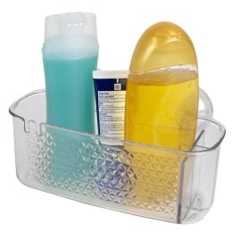 24 Units of Home Basics Large Cubic Patterned Plastic Shower Caddy with Suction Cups, Clear - Shower Accessories