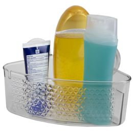12 Units of Home Basics Large Cubic Patterned Plastic Corner Shower Caddy with Suction Cups, Clear - Shower Accessories