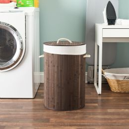 6 Units of Home Basics Round Foldable Bamboo Hamper, Brown - Laundry Baskets & Hampers