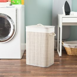 6 Units of Home Basics Rectangular Bamboo Hamper, Grey - Laundry Baskets & Hampers