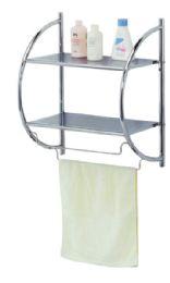 6 Units of Home Basics 2 Tier Wall Mounting Chrome Plated Steel Bathroom Shelf with Towel Bar - Bathroom Accessories