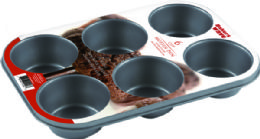 24 Units of Home Basics Non-Stick 6 Cup Muffin Pan - Baking Supplies