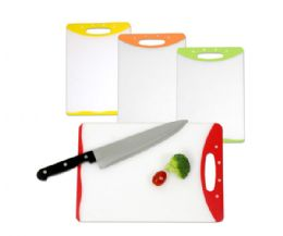 24 Units of Home Basics 8 x 12 Dual Sided Bacteria Resistant Plastic Cutting Board with Rubberized Non-Slip Edges - Cutting Boards