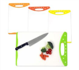 12 Units of Home Basics 12 x 18 Dual Sided Bacteria Resistant Plastic Cutting Board with Rubberized Non-Slip Edges - Cutting Boards