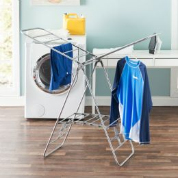 4 Units of Sunbeam Folding And Collapsible Indoor And Outdoors Clothes Drying Rack, Silver - Laundry  Supplies