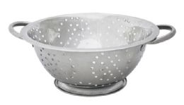 24 Units of Home Basics 3 QT Stainless Steel Deep Colander - Strainers & Funnels